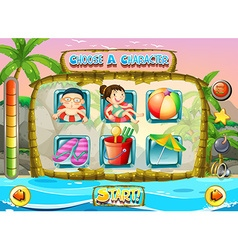 Slot game template with children characters vector image