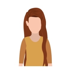 Half body silhouette woman with long hair vector