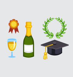 Champagne bottle and graduation hat vector