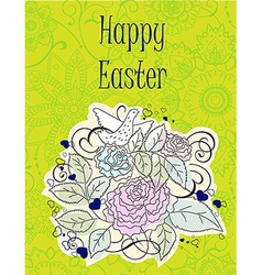 Floral Happy Easter Card vector image
