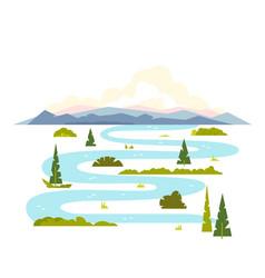 Meandering river landscape vector