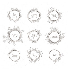 Rustic hand drawn flower elements set vector