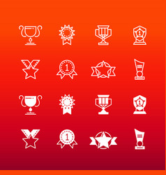 Awards trophy and prizes line and outline icons vector