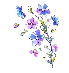 Vertical background with bright violet flowers vector image