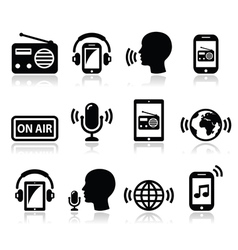 Radio podcast app on smartphone and tablet icons vector