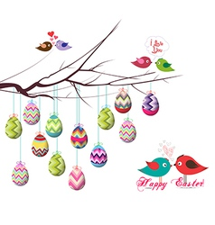 Happy easter eggs and couple bird vector