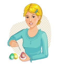 Cute cartoon girl coloring easter eggs vector