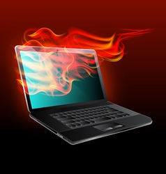 burning laptop vector image