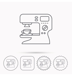 Coffee maker icon hot drink machine sign vector