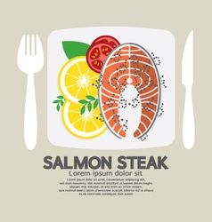 Top view of salmon steak vector