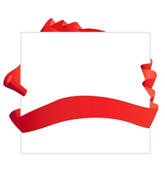Red waved ribbon around banner vector