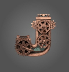 j rusted letter with gears vector image