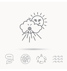 Wind icon cloud with sun and storm sign vector
