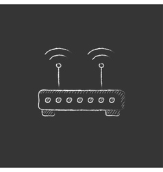 Wireless router drawn in chalk icon vector