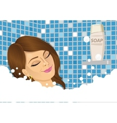 Young woman taking a foam bath with eyes closed vector