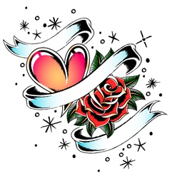 Rose heart ribbon vector