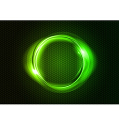 abstract round on black green vector image vector image