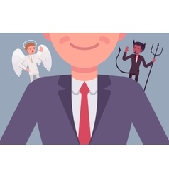 Angel and devil on the man shoulders vector