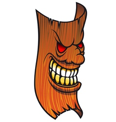 Angry wooden mask vector