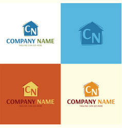 artistic house logo and icon vector image vector image