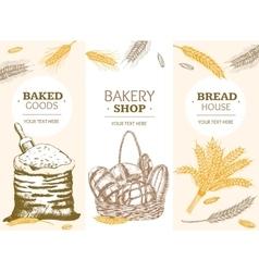 Bakery Banner Vertical Hand Draw Sketch vector image vector image