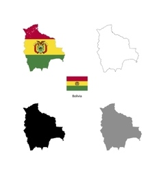 Bolivia country black silhouette and with flag on vector