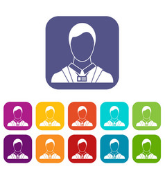 Businessman with identity name card icons set vector