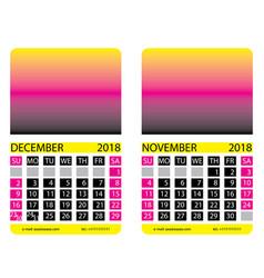 calendar griddecember november vector image vector image