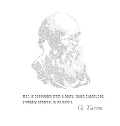 Charles darwin typographic design with citat vector