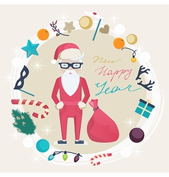 Christmas and New Year card with funny Santa Claus vector image vector image