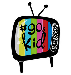 Color television with 90s kid on it vector