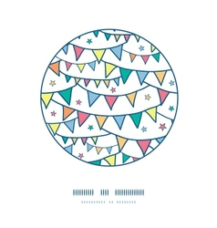 Colorful doodle bunting flags circle decor pattern vector image