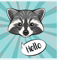 cute raccoon character showing greeting gesture vector image