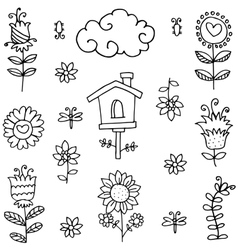 Doodle of spring theme flower collection vector