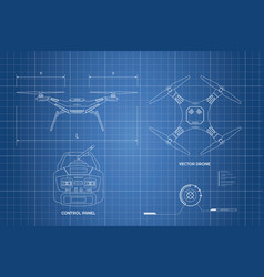 Drawing of drone industrial blueprint vector