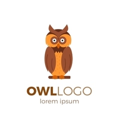Flat owl logo vector image vector image