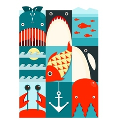 Flat Sea and Fish Rectangular Nautical Set vector image vector image
