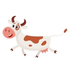 Funny black and white spotted cow character vector