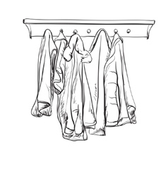 Hand drawn wardrobe sketch coat and other winter vector