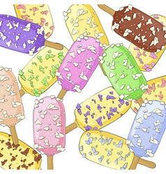 Ice creams on a stick vector