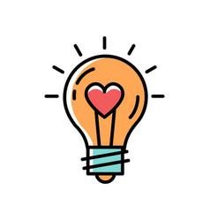 Light bulb idea love icon feelings vector