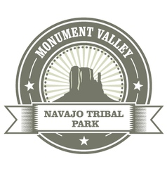 Monument valley stamp - navajo tribal park embelm vector