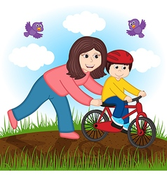 Mother teaches child to ride bike vector