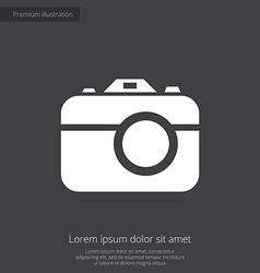 Photo camera premium icon white on dark background vector
