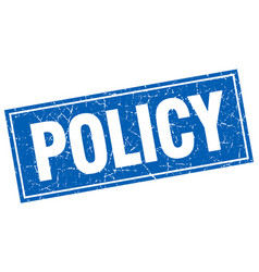 Policy blue square grunge stamp on white vector