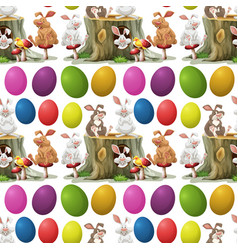 Rabbits and colorful eggs vector