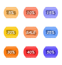 Sale and percentage tear sticker with ink label vector