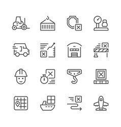 set line icons of logistics vector image