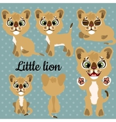 Set of emotions a little lion on a gray background vector