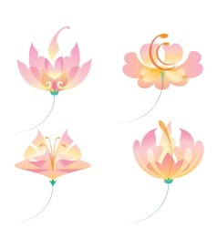 set of oriental flowers vector image vector image